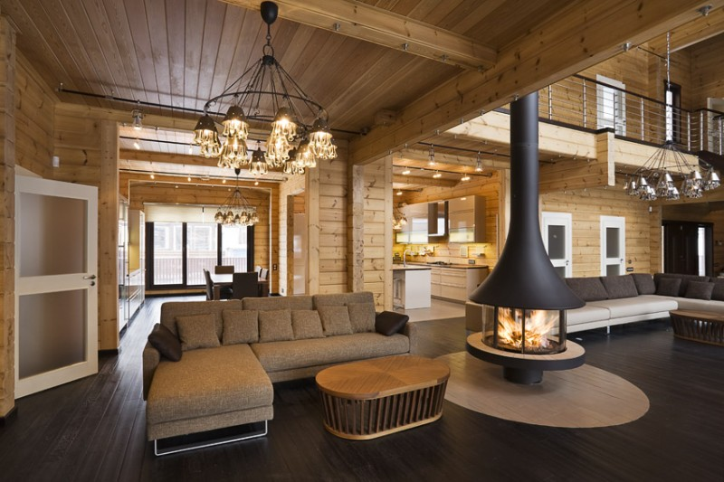 Luxury log home interior quality wooden house from finland for Interieur maison ossature bois