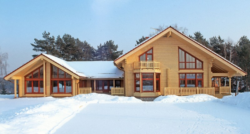 Logbouw woning scandinavia luxe houten huis uit finland model scandinavia met zwembad - Houten huis ...