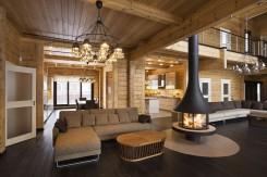 Interior de una casa de lujo de madera – calidad de una casa de madera de lujo de Finlandia