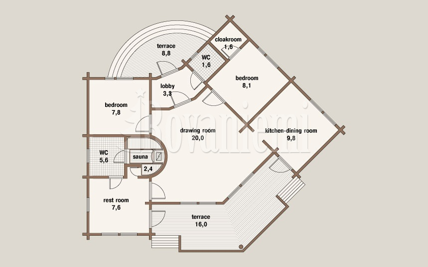Breeze floor plan – Wooden Finnish house by Rovaniemi Log House