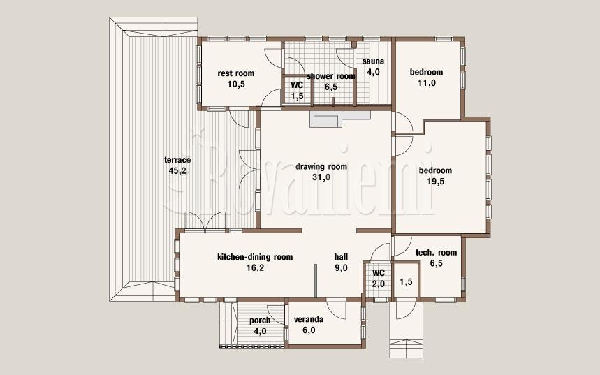 Charisma project's house plan – Rovaniemi Log House.