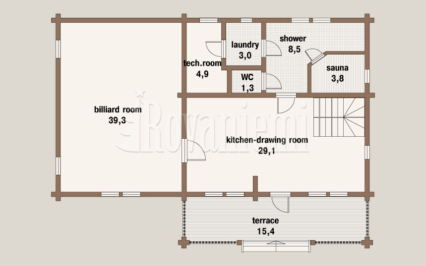 Comfort floor plan, 1st floor – Wooden house by Rovaniemi Log House