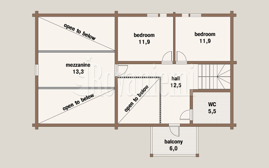 Comfort floor plan, 2nd floor – Wooden house by Rovaniemi Log House