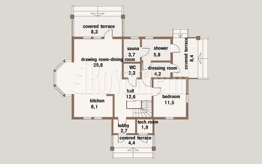 Jazz floor plan, 1st floor – Rovaniemi Log House
