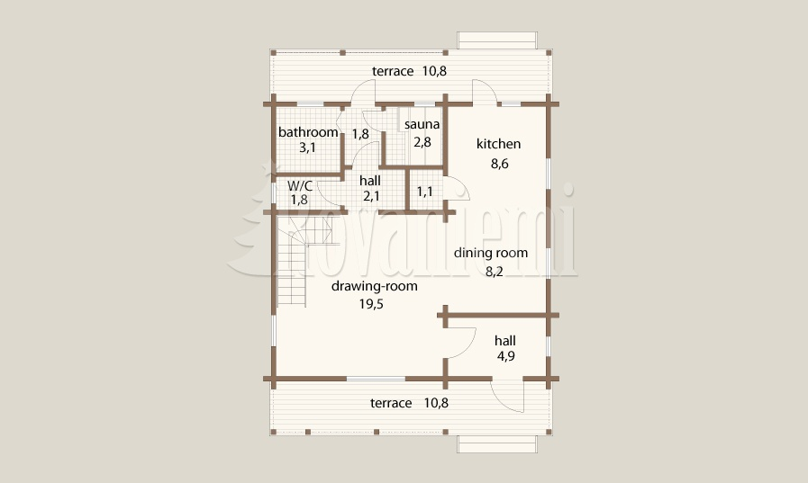 Omega project floor plan by Rovaniemi Log House