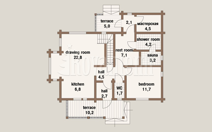 'The Classic' project's plan, 1st floor. Rovaniemi Log House.