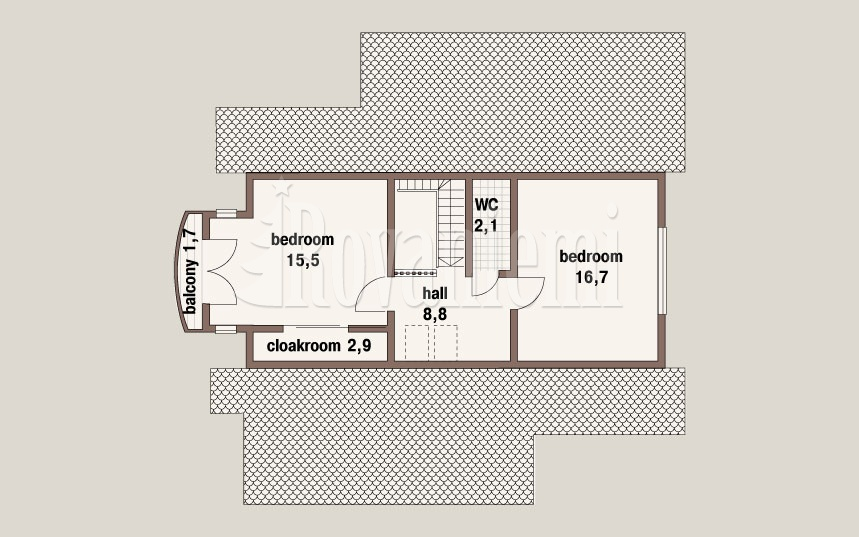 'The Classic' project's plan, 2nd floor. Rovaniemi Log House.