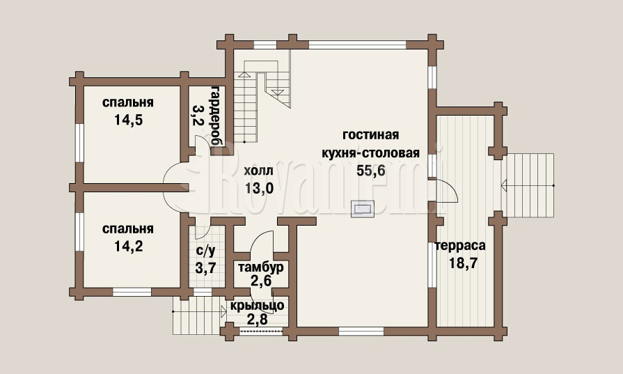 Anastasia project, floor plan, 2nd floor – Rovaniemi Log House