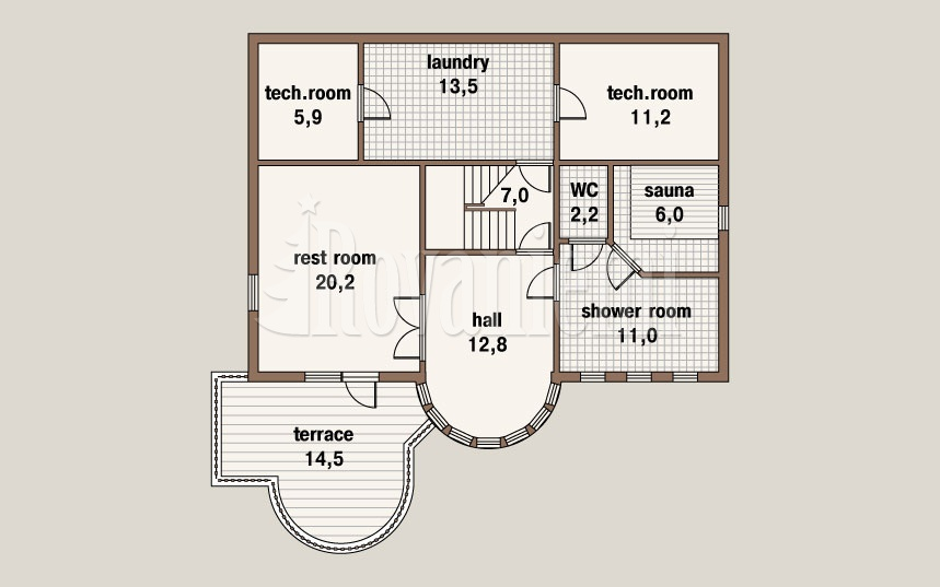 Caprice, project's floor plan, ground floor – by Rovaniemi Log House