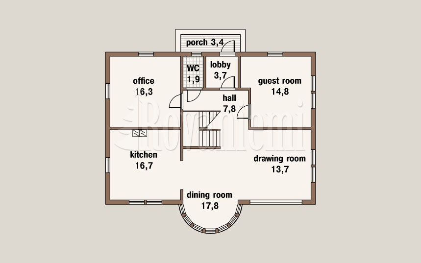 Caprice, project's floor plan, 1st floor – by Rovaniemi Log House