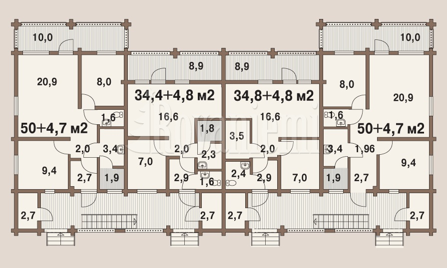 'Favourite' townhouse, floor plan – Rovaniemi Log House