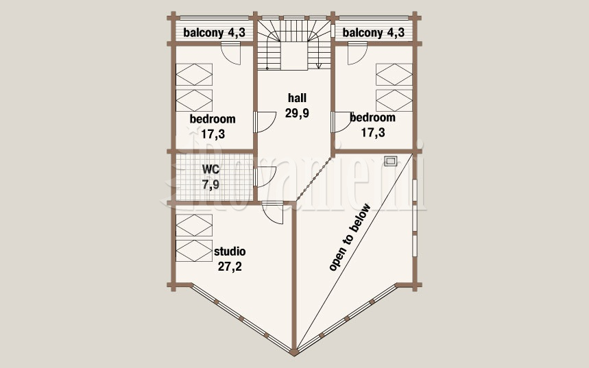 Flagship, project's floor plan, 2nd floor – Rovaniemi Log House