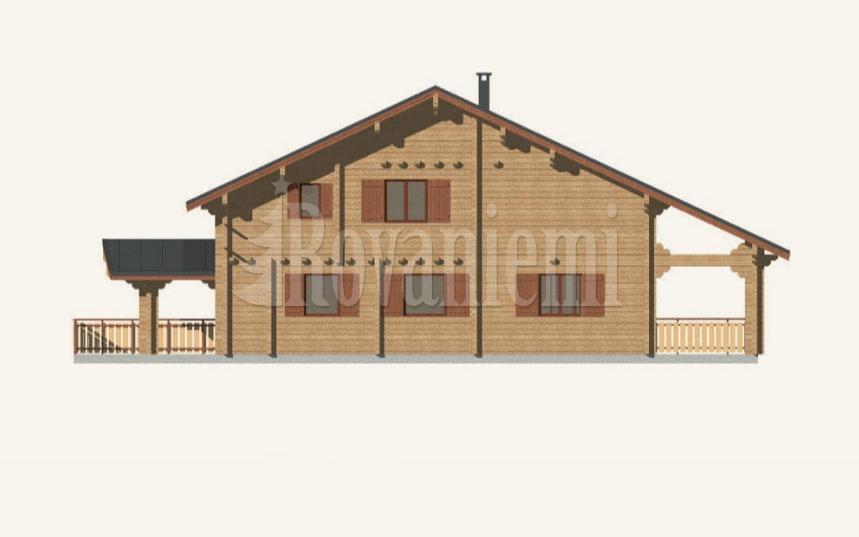 Greek house, facade – Rovaniemi Log House.