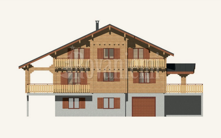 Greek house, facade – Rovaniemi Log House