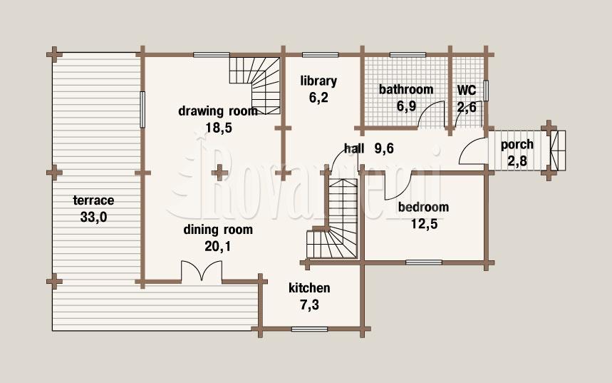 Greek house, floor plan, 1st floor – Rovaniemi Log House.