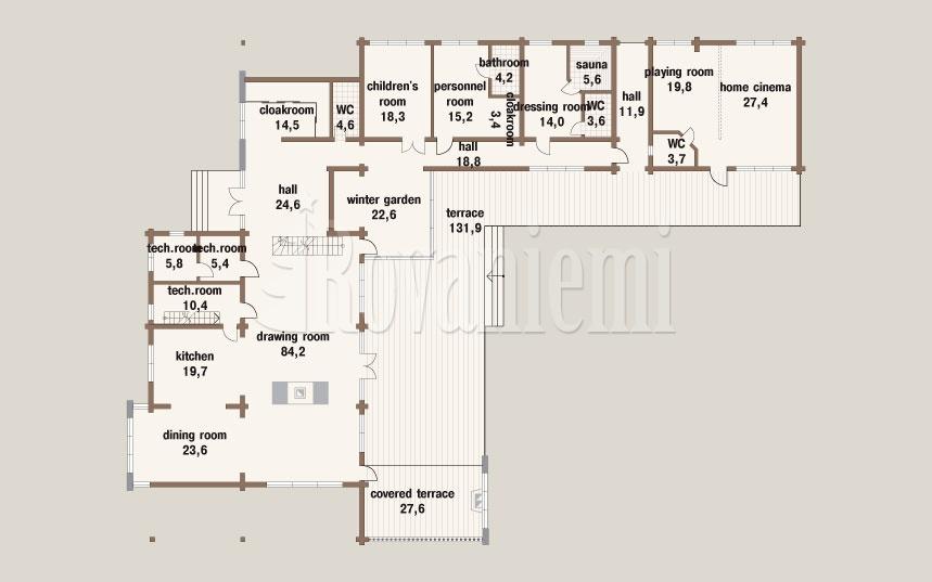 Harmony G floor plan, 1st floor –by Rovaniemi Log House