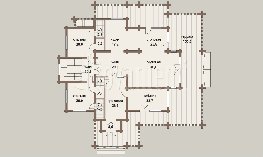 Helios, house's floor plan, 1st floor – Rovaniemi Log House