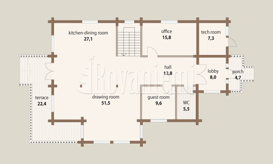 Inspiration – floor plan, 1st floor – Finnish wooden cottage by Rovaniemi Log House