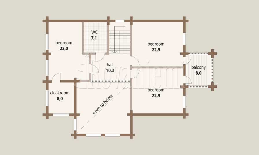 Inspiration – floor plan, 2nd floor – Finnish wooden cottage by Rovaniemi Log House