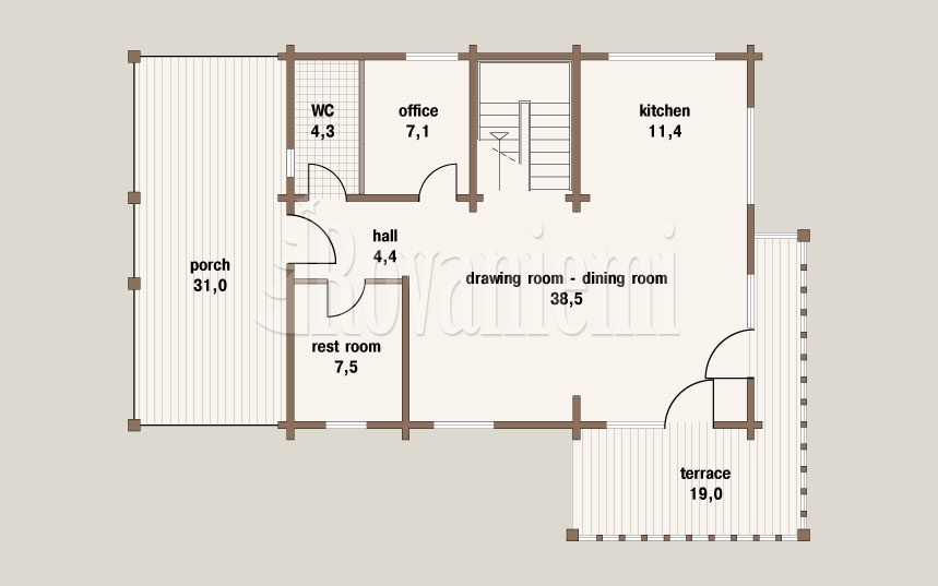 Jana floor plan. classic wooden cottage by Rovaniemi Log House
