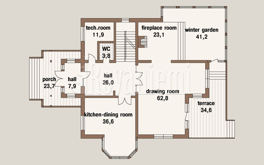 Kamchatka project's floor plan – 2nd floor – Rovaniemi Log House.