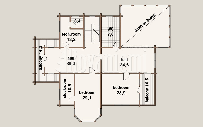 Kamchatka project's floor plan – 1st floor – Rovaniemi Log House.