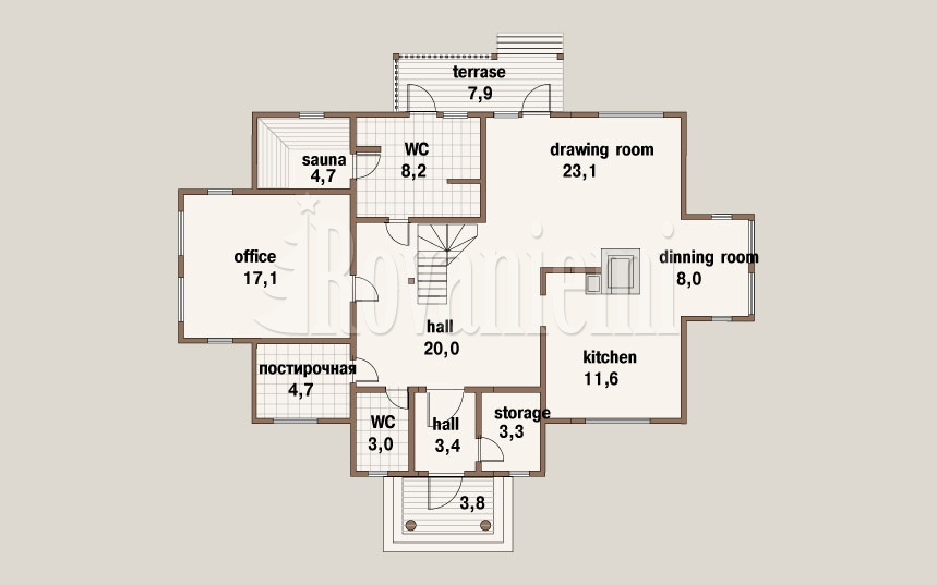 Karelia, project's floor plan, 2nd floor – by Rovaniemi Log House