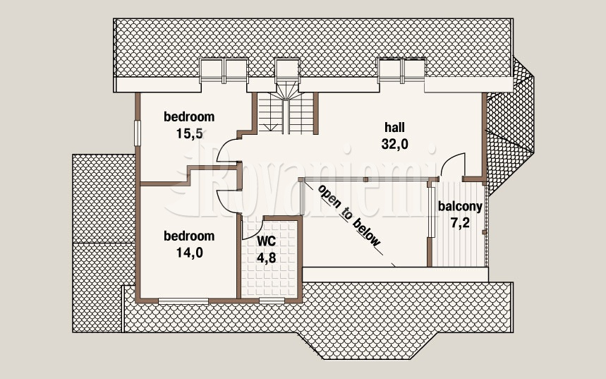 Project 'Lapland' –floor plan, 2nd floor – Rovaniemi Log House