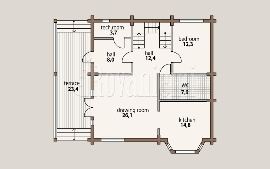 Leader – project's floor plan, 1st floor – by Rovaniemi Log House