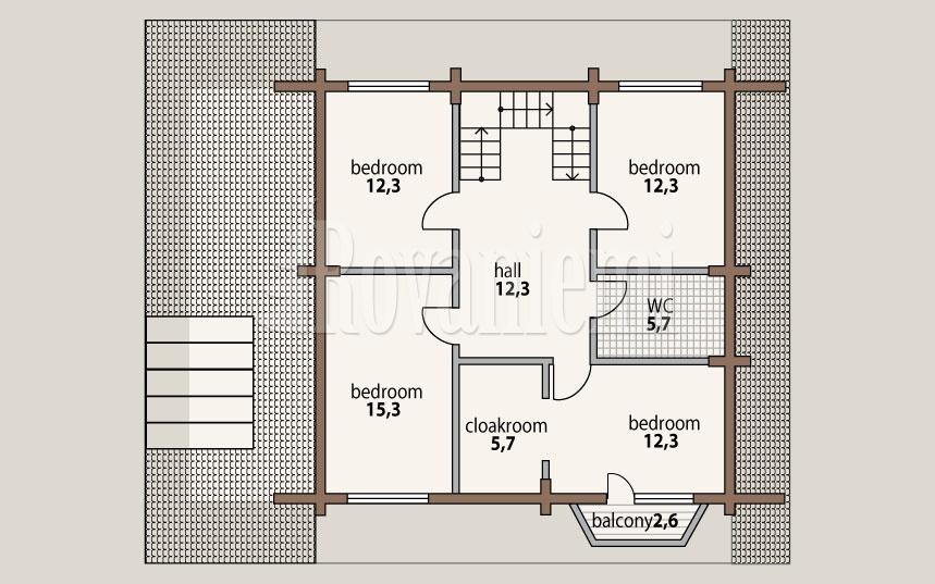 Leader – project's floor plan, 2nd floor – by Rovaniemi Log House