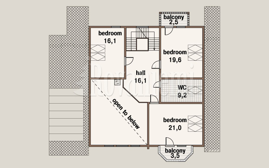 Scandinavia, project's floor plan, 2nd floor – by Rovaniemi Log House