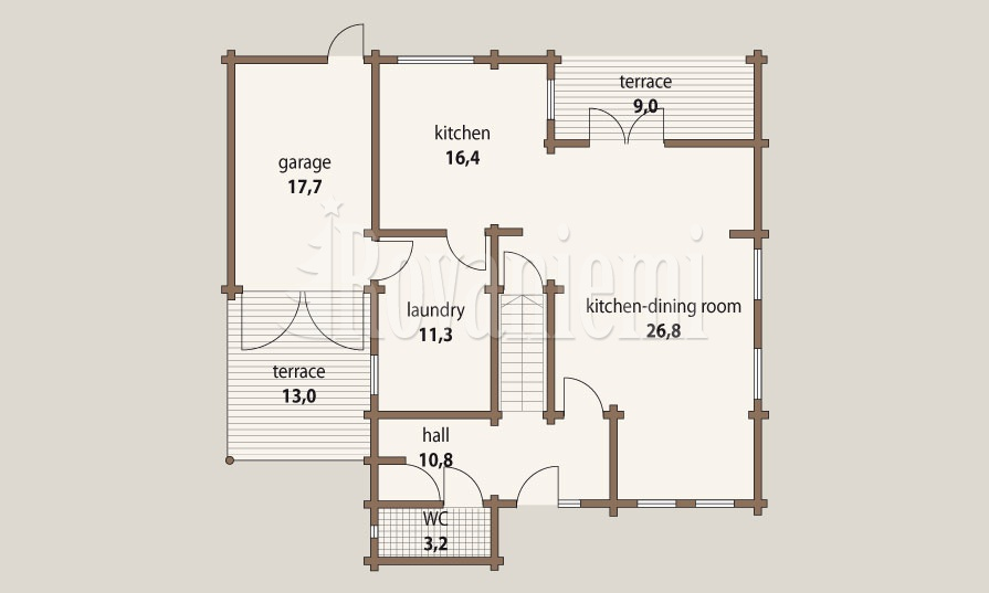 Sonata – project's floor plan, 1st floor Rovaniemi Log House