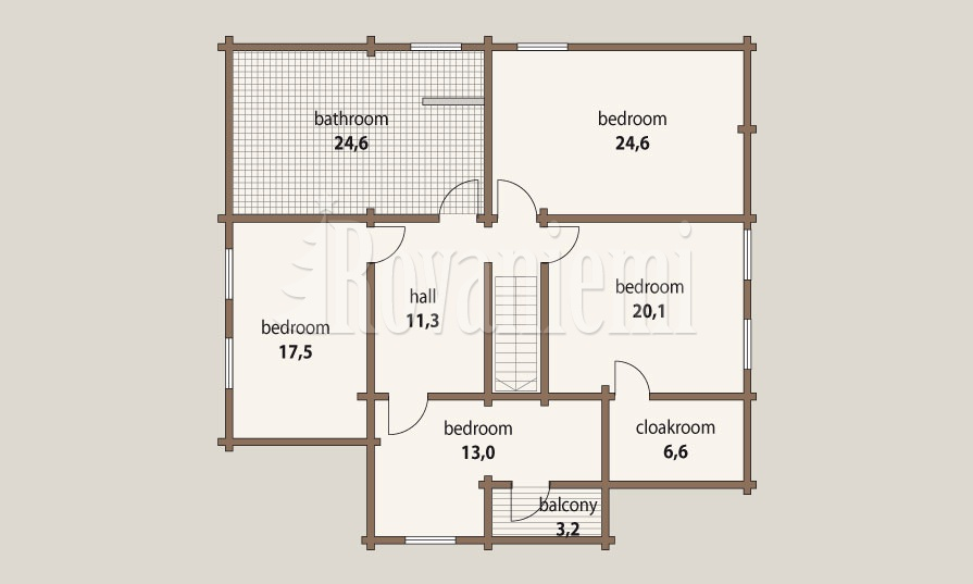 Sonata – project's floor plan, 2nd floor – Rovaniemi Log House