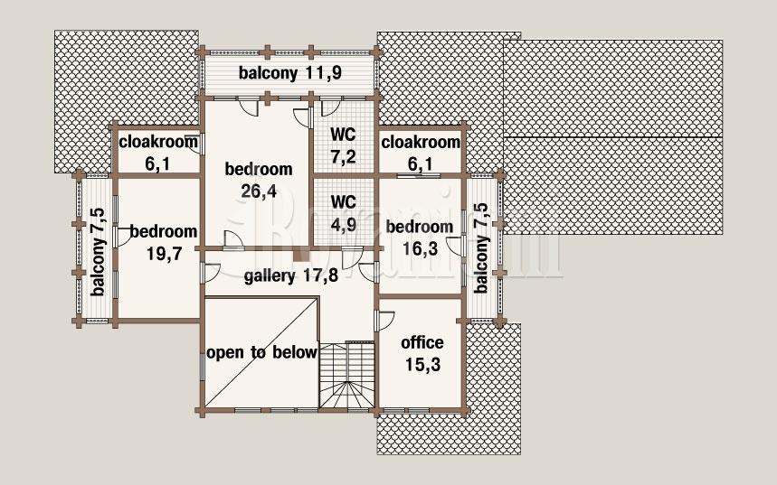 Sun House, floor plan, 2nd floor – Rovaniemi Log House