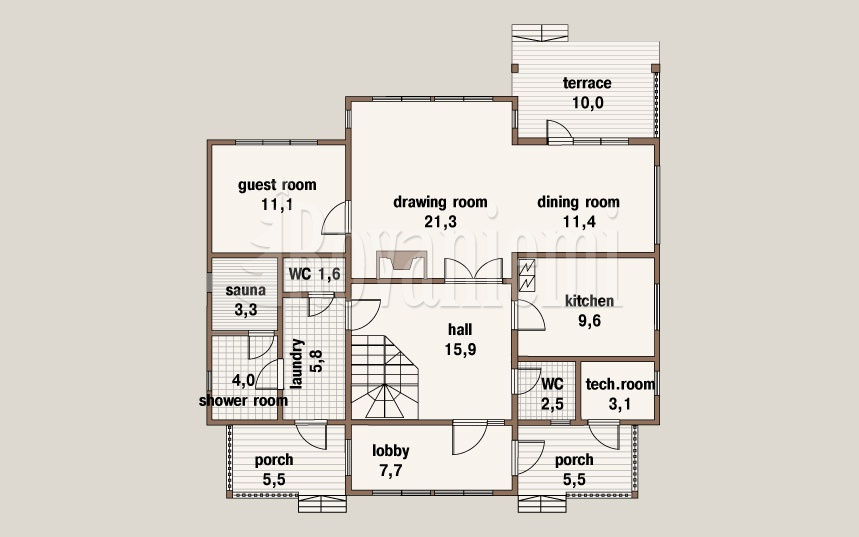 Suomi – classic wooden cottage, floor plan, 1st floor – Rovaniemi Log House