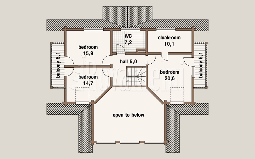 Swedish house, floor plan, 2nd floor – Rovaniemi Log House