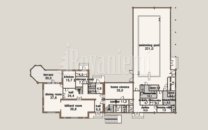 Switzerland, project's floor plan, 1st floor –Rovaniemi Log House