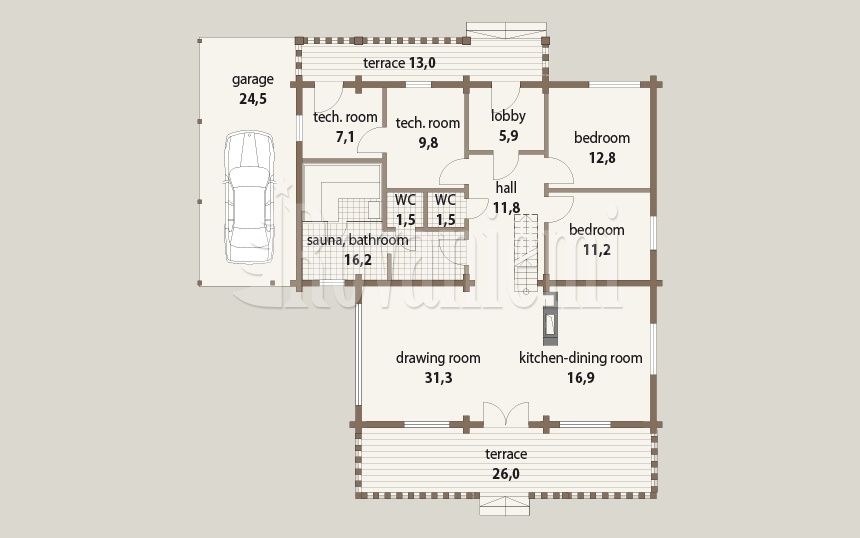 Triebental floor plan, 1st floor – Rovaniemi Log House