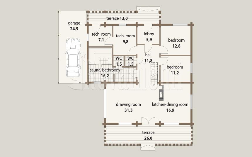 Triebental floor plan, 1st floor – Rovaniemi Log House