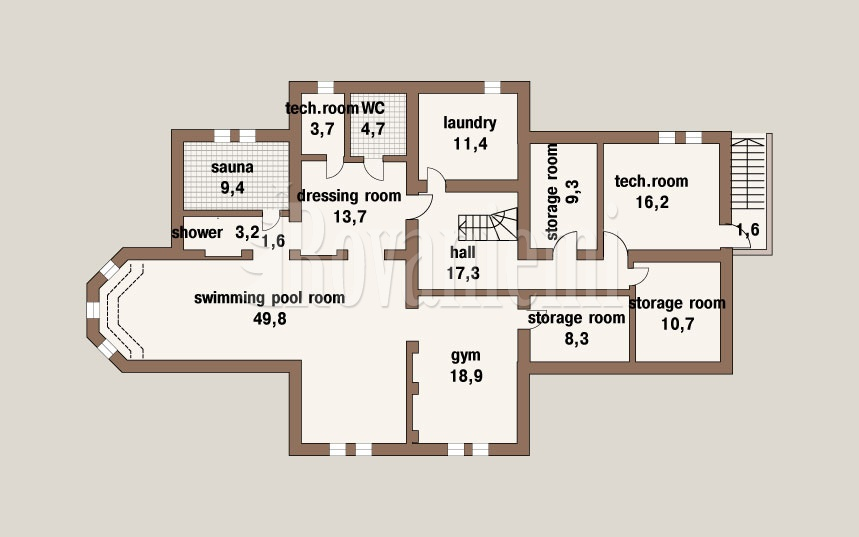 VIlla project's floor plan, ground floor – Rovaniemi Log House