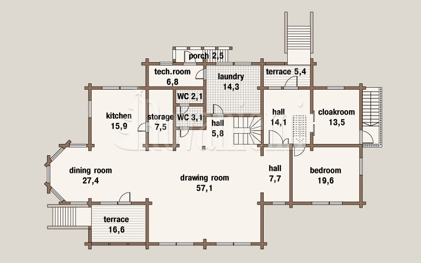 VIlla project's floor plan, 1st floor – Rovaniemi Log House