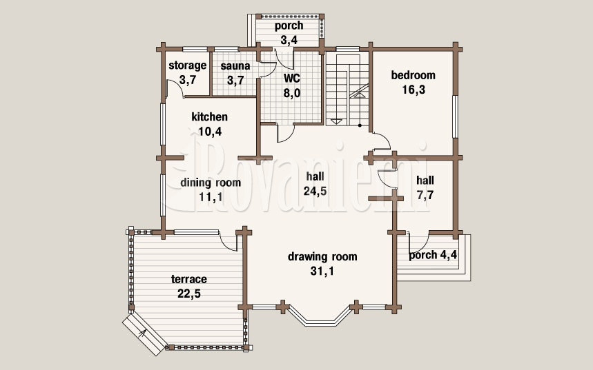 Villa Lappi, floor plan, 1st floor – by Rovaniemi Log House