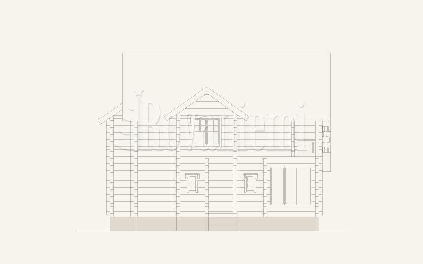 Viola, facade drawing –Rovaniemi Log House.
