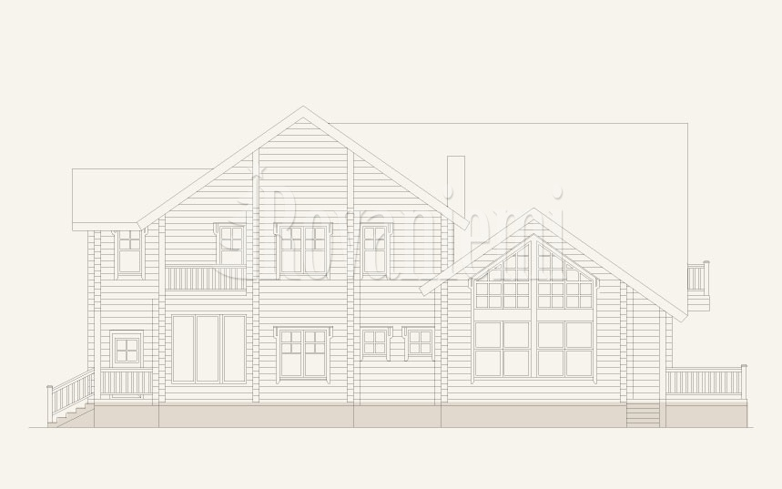 Viola, facade drawing – Rovaniemi Log House.