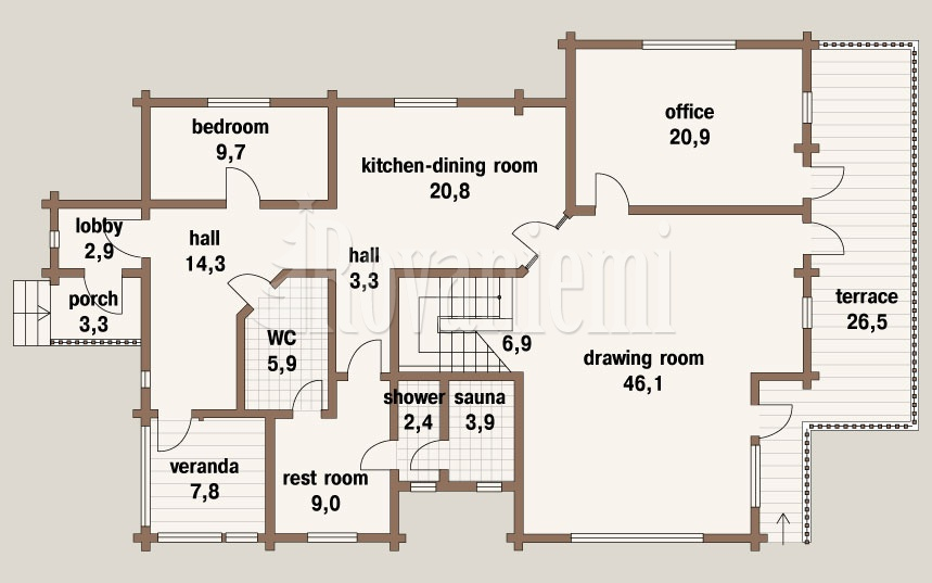 Viola, floor plan, 2nd floor – Rovaniemi Log House