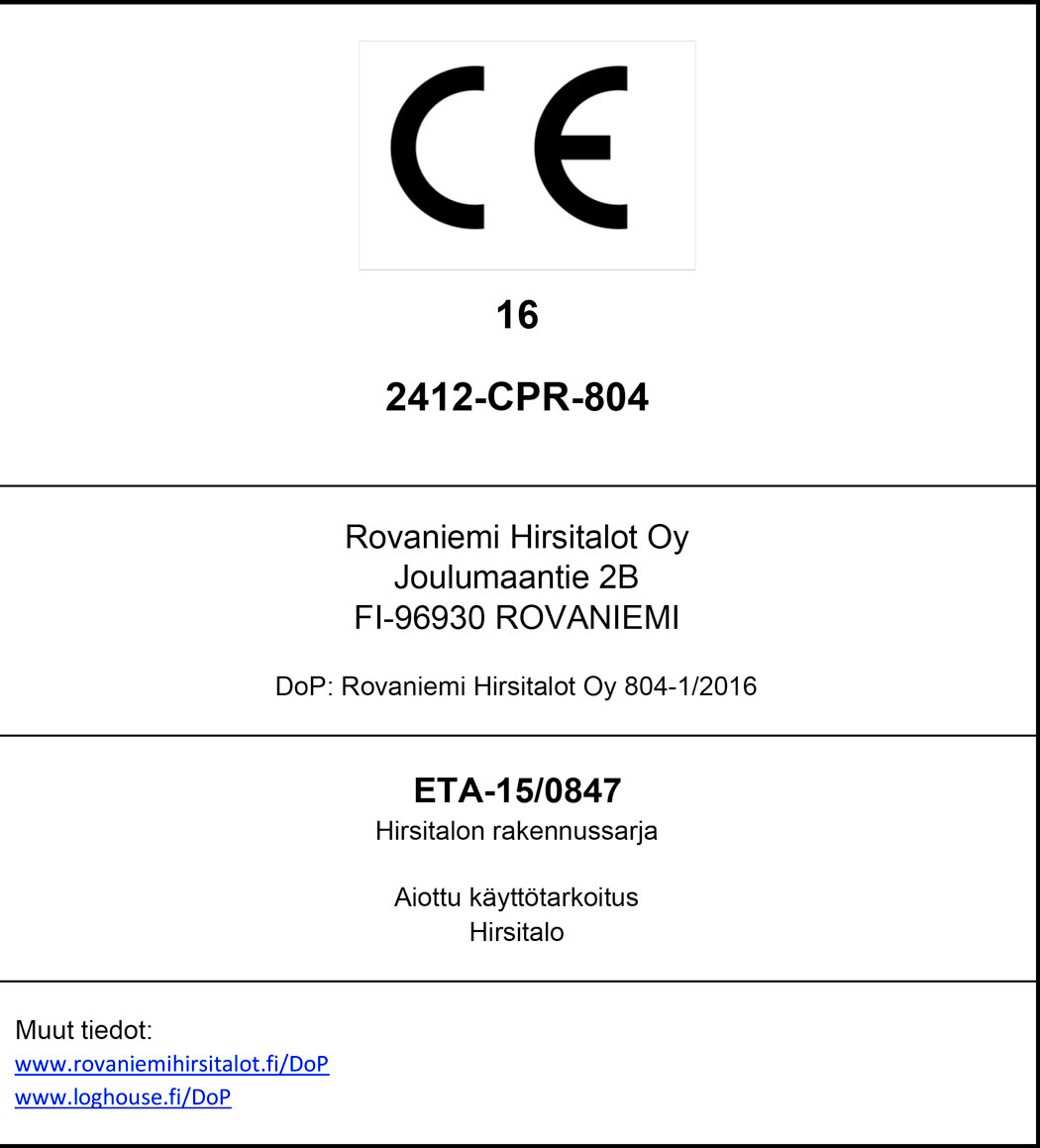 CE certificate for Rovaniemi Log House.