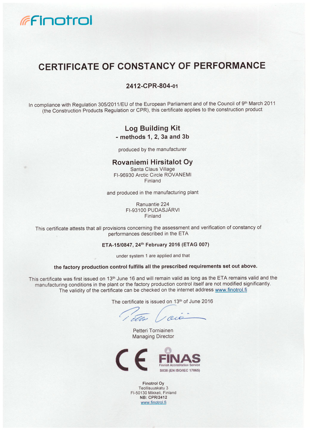 Certificate of Constancy of Performance – Rovaniemi Log House.
