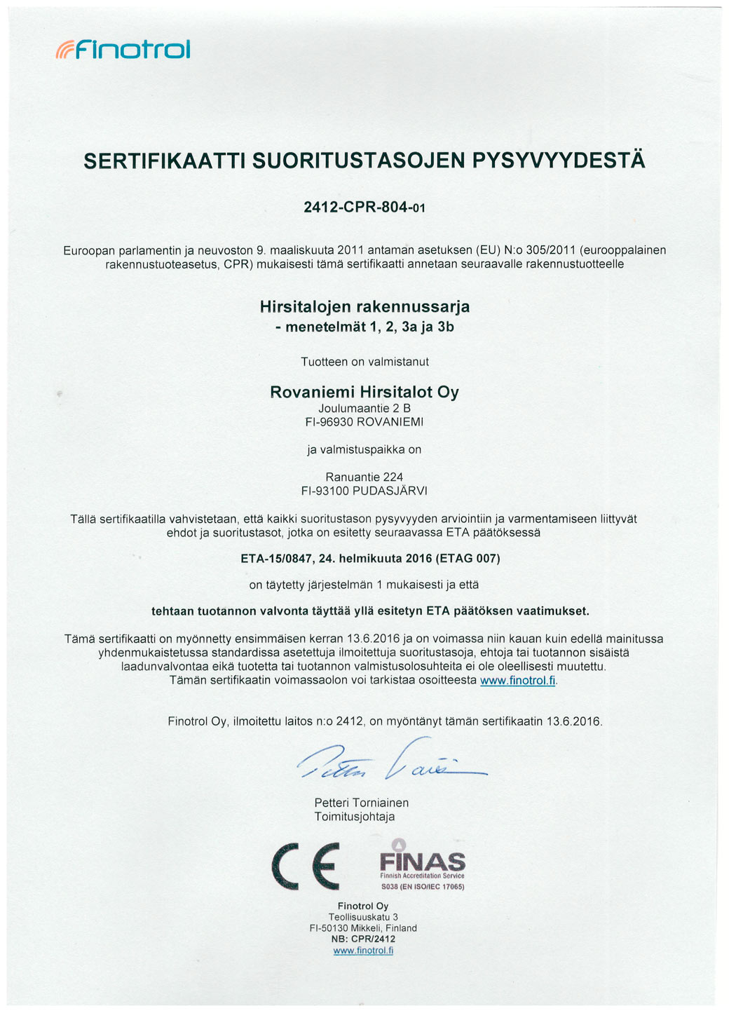 Certificate of Constancy of Performance in Finnish – Rovaniemi Log House.
