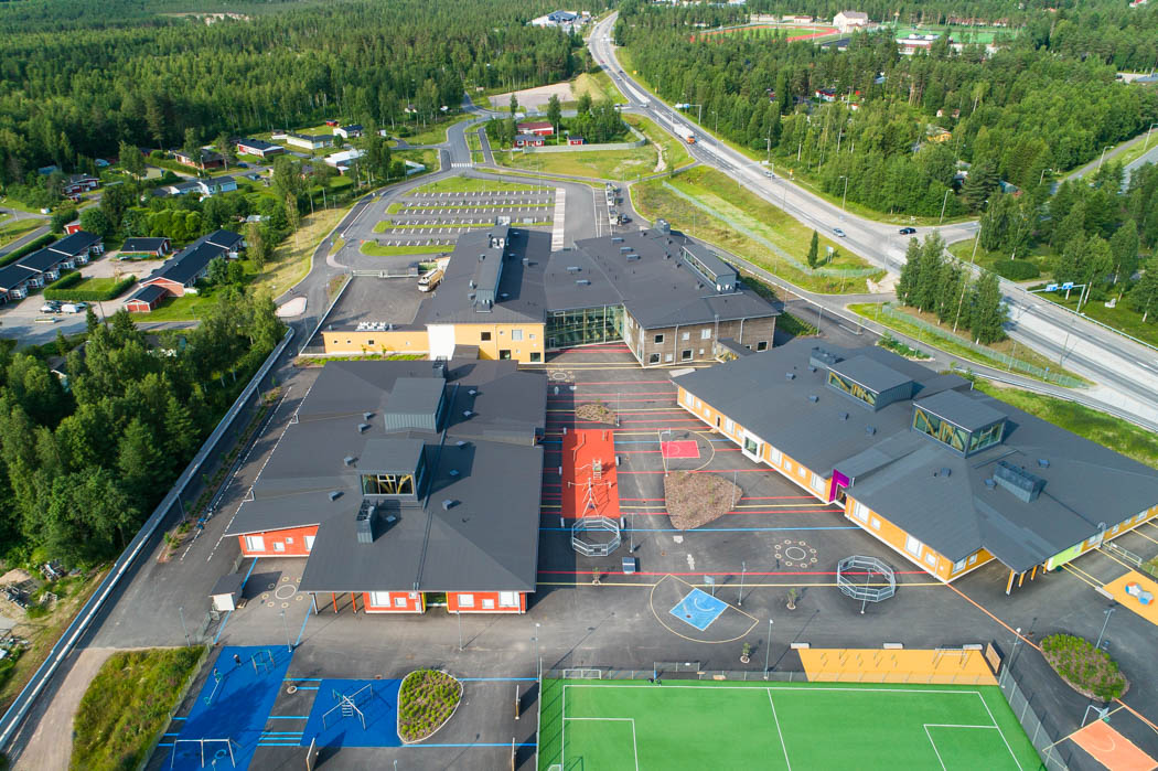 Pudasjärvi Log Campus – Birdseye view.