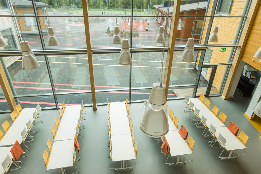 Pudasjärvi Log Campus – View from upstairs.